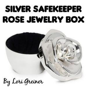 NIB Silver Safekeeper Rose Jewelry Box